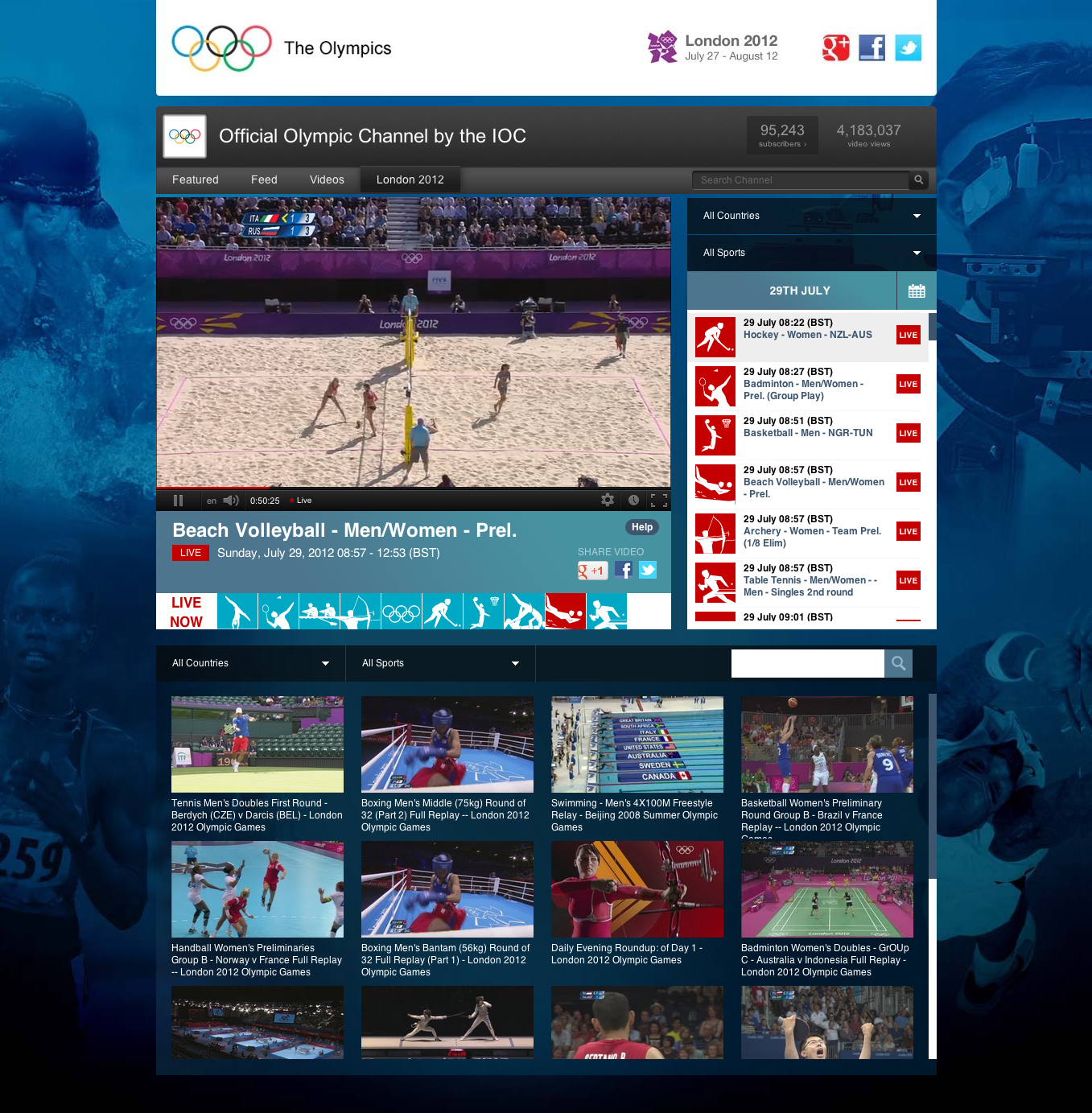 Final Olympics 2012 YouTube Live gadget
