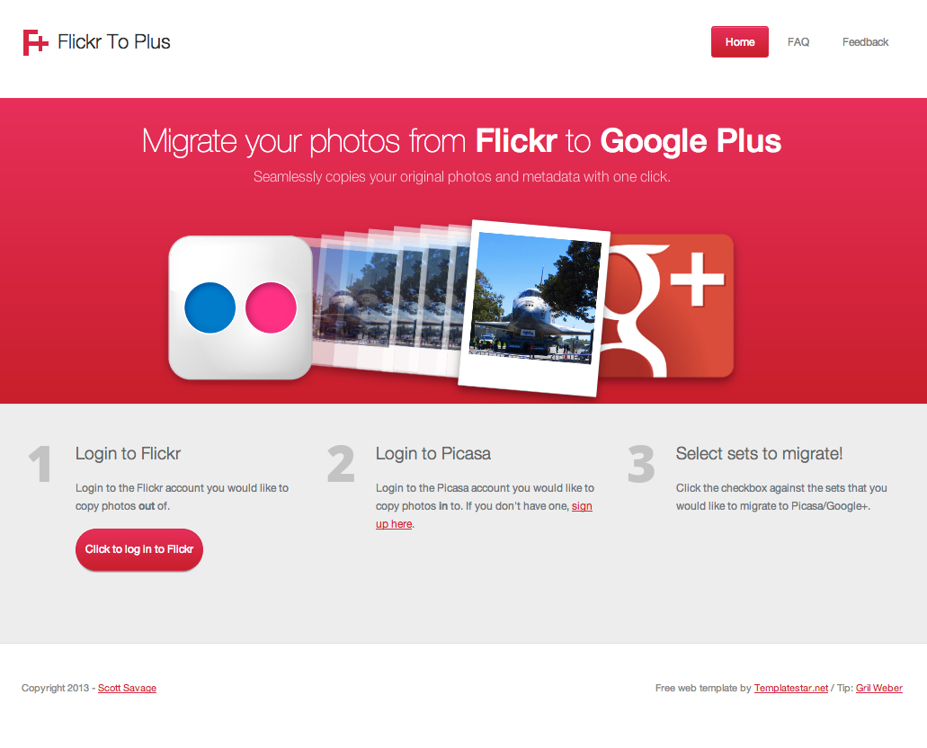 FlickrToPlus.com Screenshot